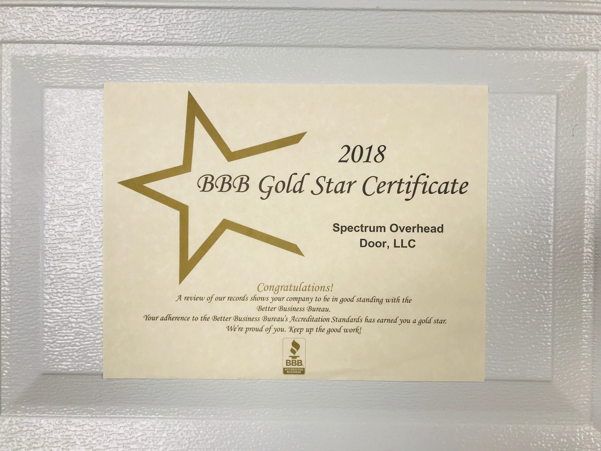 BBB of Houston's Gold Star Certificate