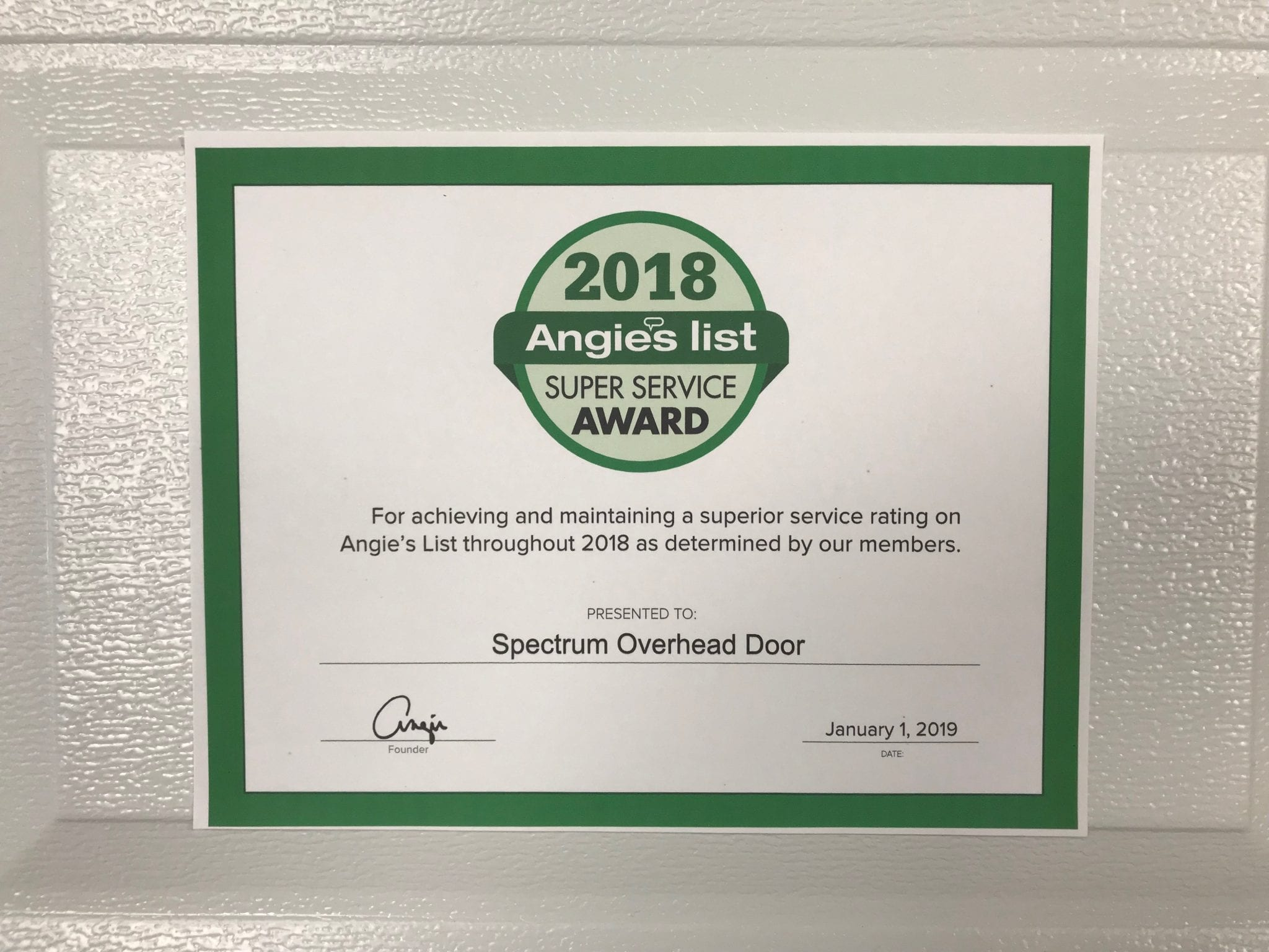 Angie's List Super Service in Houston Award
